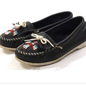 💚Minnetonka navy moccasins
